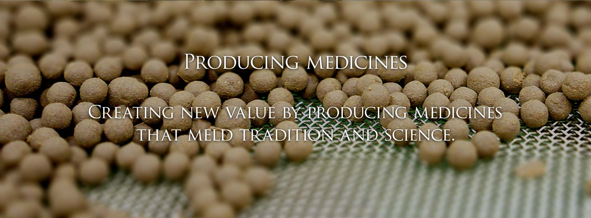 Producing medicines / Creating new value by producing medicines that meld tradition and science.